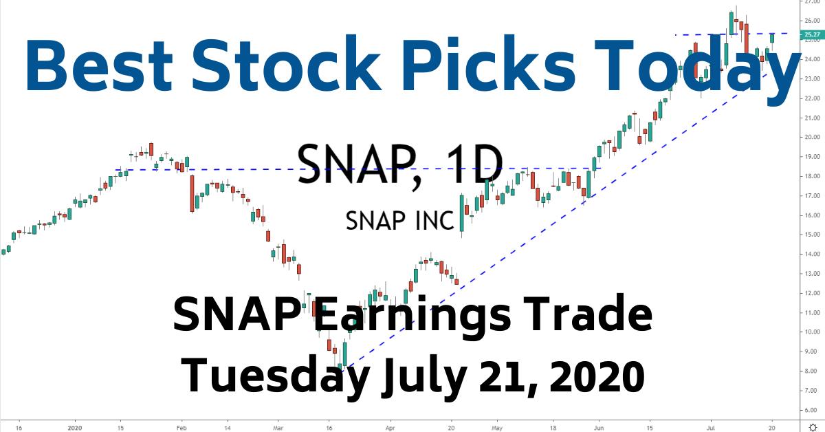 SNAP Earnings Trade Best Stock Picks Today 7-21-20