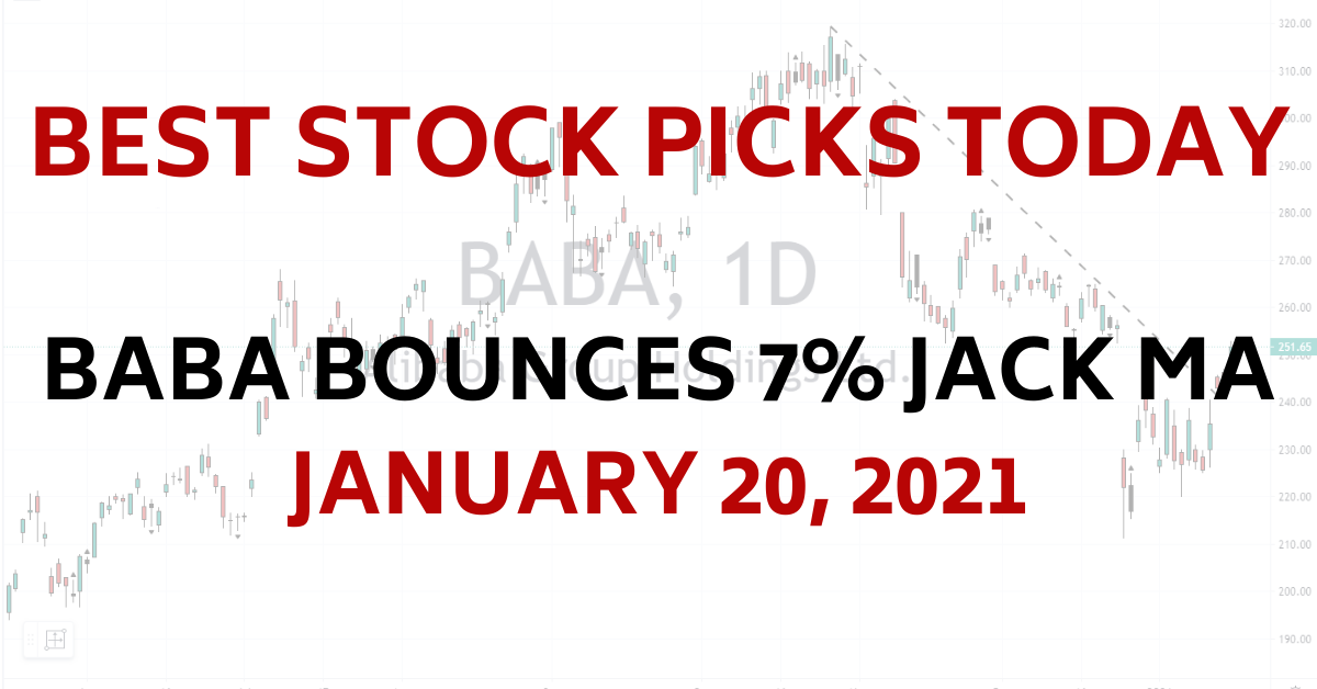 Best Stock Picks Today BABA Jack Ma Resurfaces 1-20-21