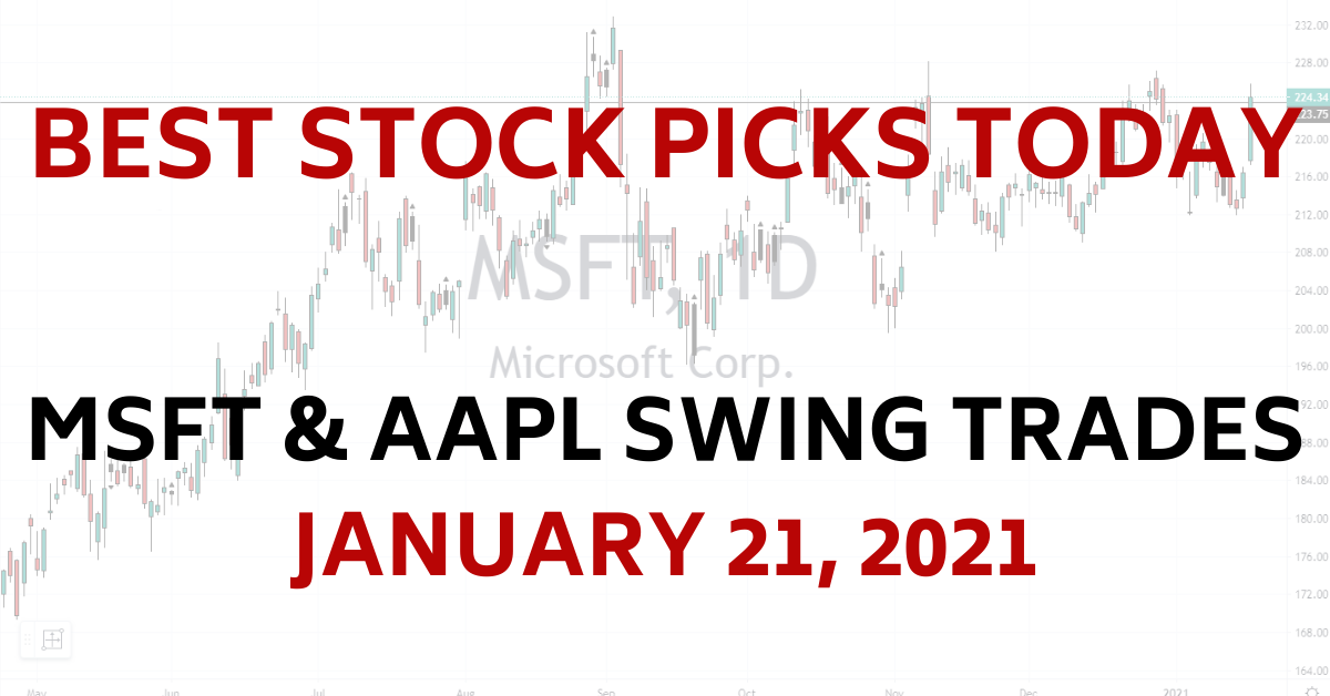 Best Stock Picks Today MSFT AAPL Swing Trades 1-21-21